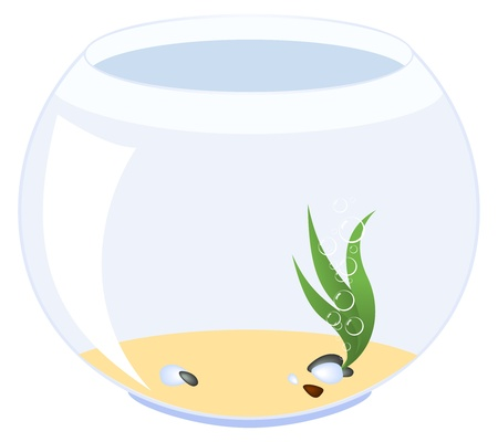 An empty aquarium. Vector illustration, isolated on a white. Stock Vector - 9932656