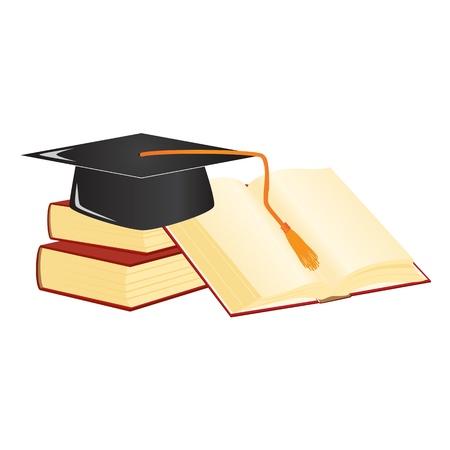 Graduation mortar on top of books.  Vector