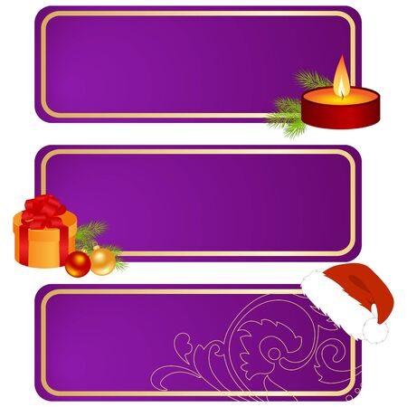 gold string: Set of celebratory tablets, christmas and new year decorations. Illustration