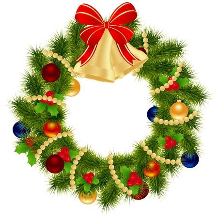 고립 된: 겨울 공휴일 설계를위한 크리스마스 화 환입니다. 벡터 일러스트 레이 션.