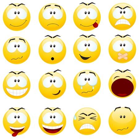 faces happy to sad: Set of yellow smiles.