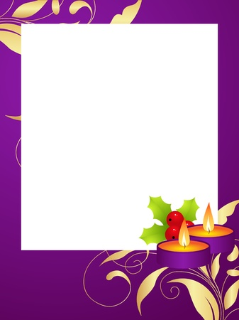 Violet decorative christmas frame with pattern, candles, christmas balls and holly berry.  Vector