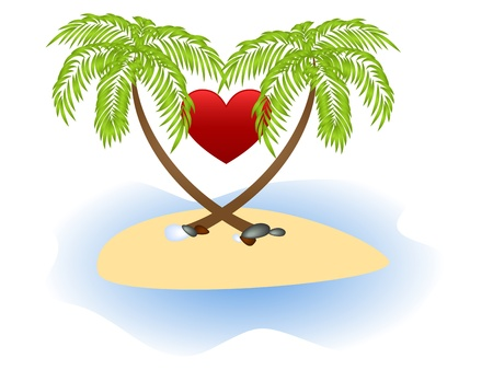 Two palms and red heart isolated on a white background. Vector
