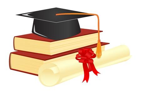 licenciatura: La graduaci�n de mortero en la parte superior de los libros. Ilustraci�n vectorial. Vectores
