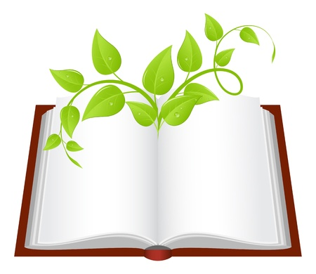 fantasy book: Open book with young green plant. Vector illustration.