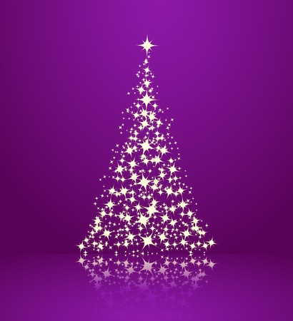 Christmas background, silhouette of a christmas tree. Vector illustration.