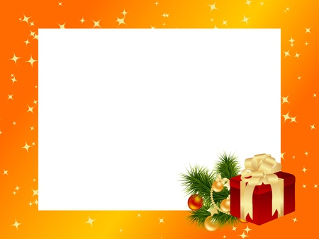 Orange frame with christmas decorations. Vector illustration. Ilustração