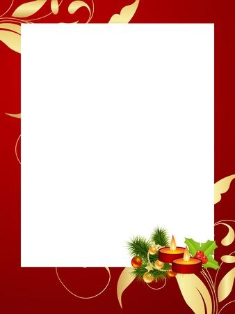 クリスマスの装飾と赤いフレーム。ベクトル イラスト。