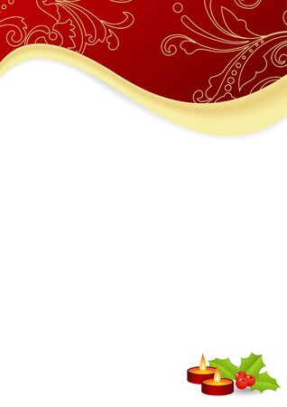 Red frame with christmas decorations. Vector illustration. Vector
