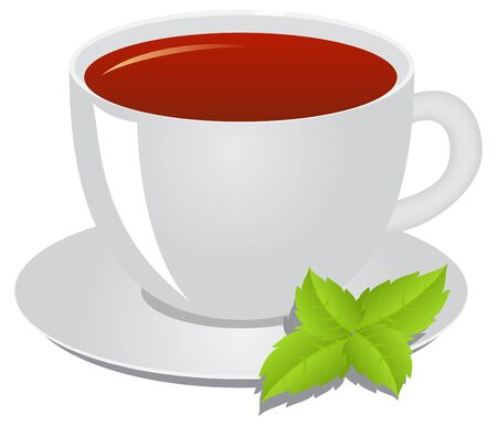 non alcoholic beverage: Cup of tea, a leaflet of mint. Tea consept.