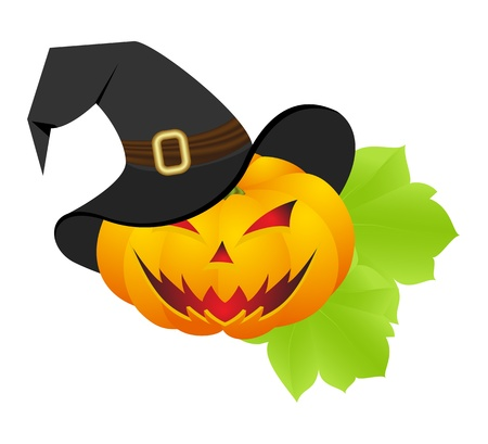 cartoon witch: Halloween pumpkin with witch