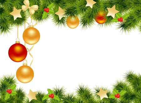 christmas border: Christmas background with decorations. Vector illustration.