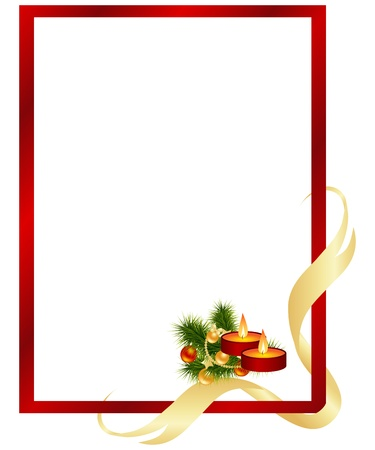 gold ball: Red frame with christmas decorations. Illustration