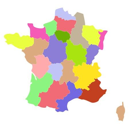 departamentos: Mapa de Francia con las regiones y distritos.