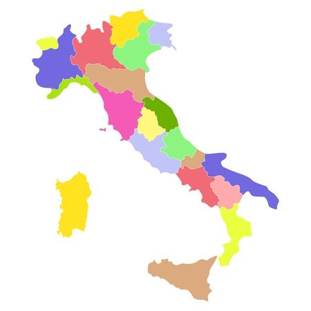 bundesl�nder: Italien-Karte isoliert auf wei�em Hintergrund.