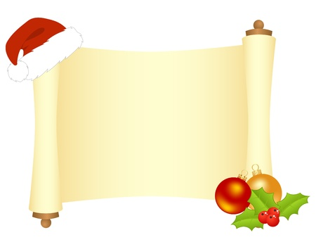 new year scroll: Scroll with Christmas decorations.isolated on a white