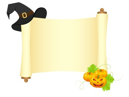 Halloween blank paper scroll isolated on a white. Vector