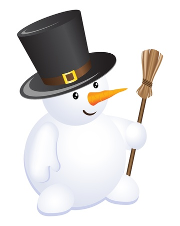 top hat: The snowman in a top hat and with a broom in a hand. isolated on a white.