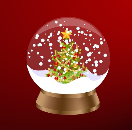 Christmas Snow Globe. Vector illustration. Vector