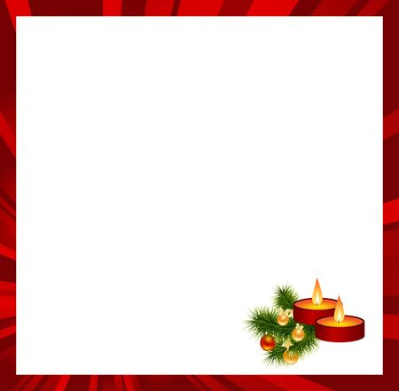 Red frame with christmas decorations. Vector illustration.