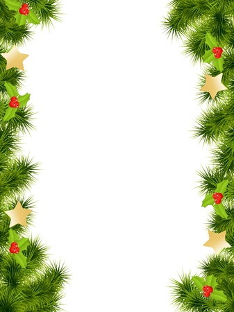 pine decoration: Christmas background with decorations. Vector illustration.