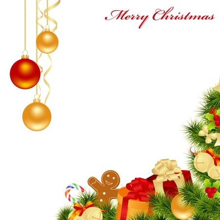 osos navide�os: Fondo de Navidad con adornos. Ilustraci�n vectorial.
