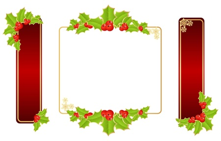 holly leaves: Labels with christmas decorations. Vector illustration.