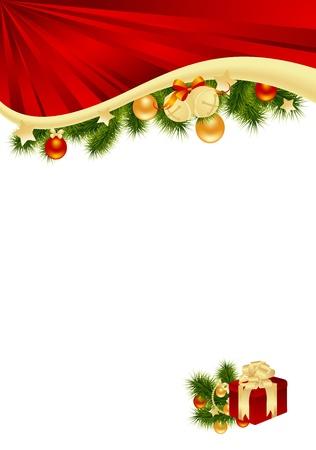 Feestelijke Kerstkaart met decoraties. Vector illustratie.
