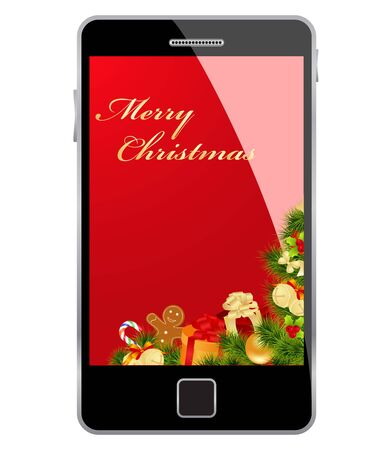 Christmas card in smartphone isolated on a white background. Vector illustration. Stock Vector - 10998809