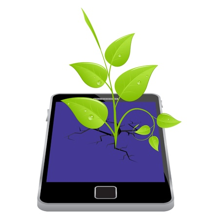 cracked glass: Smartphone with broken screen and plant. Vector illustration. Illustration