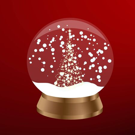 Snow globe with a christmas tree in red color. Vector illustration. Vector