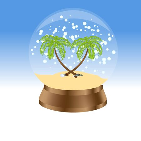 Snow globe with palm trees. Vector illustration.