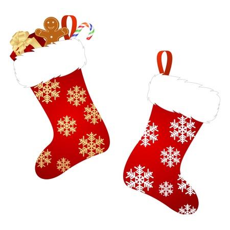caramelos navidad: Calcet�n de Navidad aislado en un fondo blanco. Vector ilustraci�n.