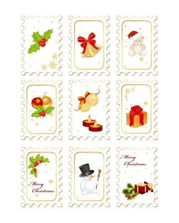 postage stamp frame: Stamps with Christmas elements isolated on a white background. Illustration