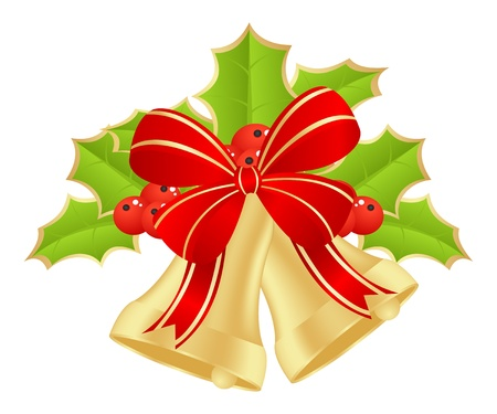green bow: Christmas bells with bow and holly. Vector illustration.
