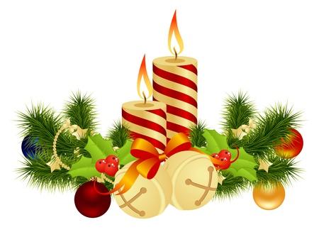 velas de navidad: Decoración de Navidad con velas. Ilustración vectorial. Vectores
