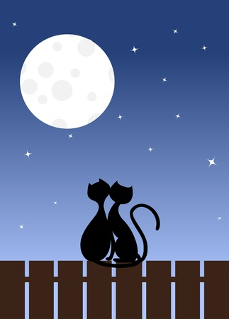 Two enamoured cats sit on a fence. Vector illustration. Illustration