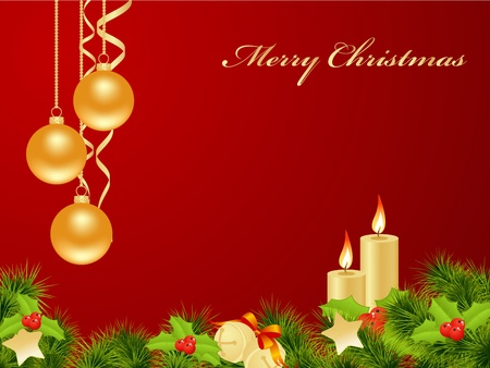 Christmas card red background with decoration. Vector illustration.  Vector