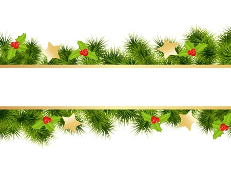 evergreen: Christmas background with decorations. Vector illustration.
