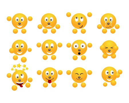 Set of yellow smiles. Vector illustration, isolated on a white.