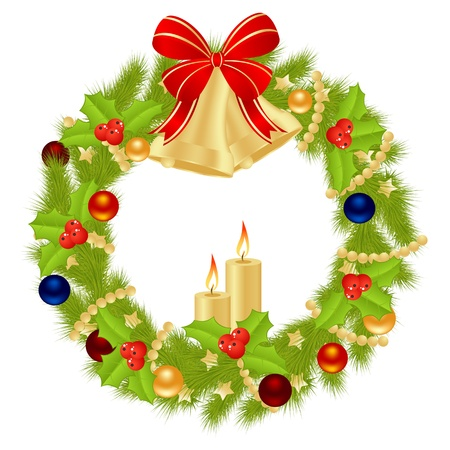 Christmas wreath for winter holydays designs. Vector illustration. Stock Vector - 11105042