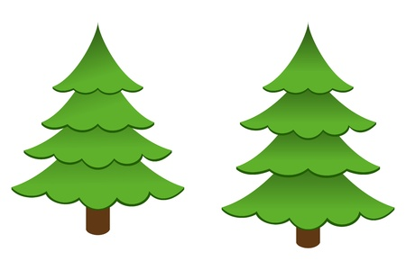 firtree: Christmas trees isolated on a white background. Vector illustration.