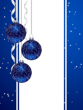 Blue background with christmas decorations. Vector illustration.