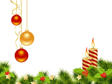 abetos: Tarjeta de Navidad de fondo blanco con decoración. Ilustración vectorial. Vectores