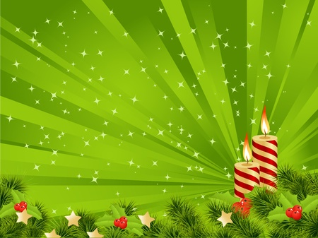 christmas embellishments: Christmas card green background with decoration. Vector illustration. Illustration