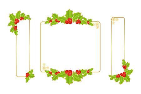 Etiketten mit Weihnachtsschmuck. Vektor-Illustration.