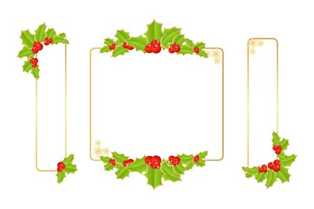 holly berries: Labels with christmas decorations. Vector illustration.