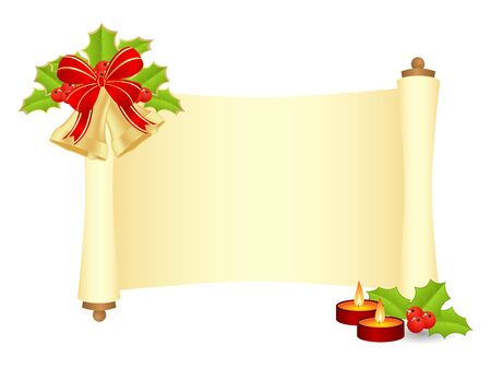 parchment scroll: Manuscript with fir branch and christmas balls. Vector illustration, isolated on a white.