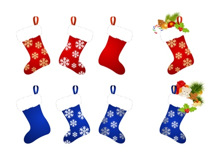bear berry: Christmas stocking isolated on a white background. Vector illustration.