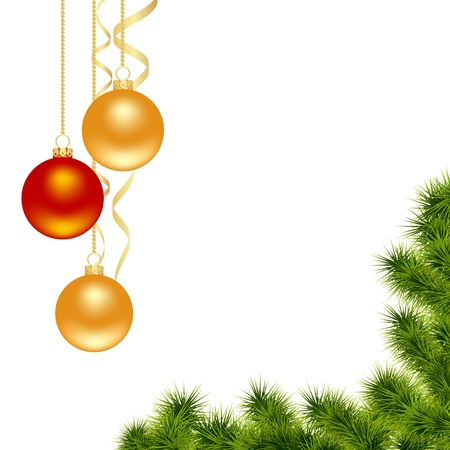 Christmas white background with decorations. Vector illustration. Vector